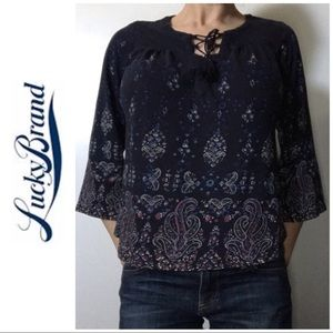 Navy Blue Paisley Floral Lace Up Bell Sleeve Top L